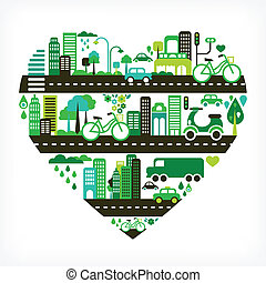 Herzform mit grüner Stadt.