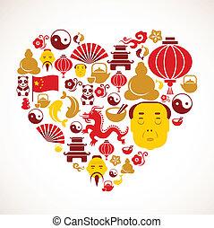 Herzform mit Porzellan-Ikonen