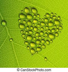 Herzformabfall auf grünem Blatt. Drehmoment, EPS10