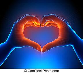 Herzhände leuchtend