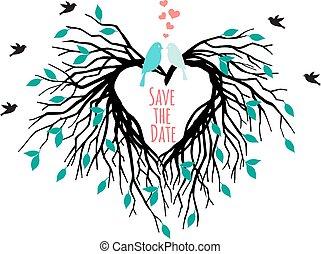 Herzhochzeitbaum mit Vögeln.