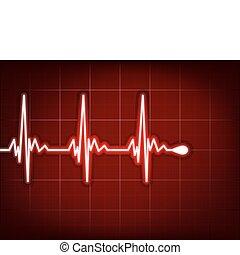 Herzkardiogramm mit Schatten auf ihm tief rot. EPS 8