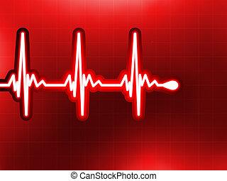 Herzkardiogramm, tief rot. EPS 8