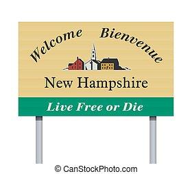 herzlich willkommen, neu , straße zeichen, hampshire