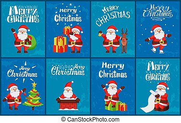 Herzlichen Glückwunsch zu Weihnachten Santa Card Vektor