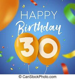 Herzlichen Glückwunsch zum Geburtstag 30-30-jährigen Ballon-Partykarte