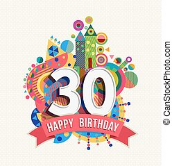 Herzlichen Glückwunsch zum Geburtstag 30 Jahre Grußkarte Poster Farbe