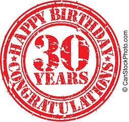 Herzlichen Glückwunsch zum Geburtstag 30 Jahre grunge Gummistempel, Vektorgrafik.