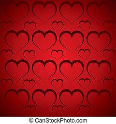Herzmuster im roten Hintergrund