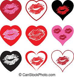 Herzsymbole mit Kuss.