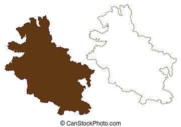 hessia), skizze, deutschland, landkarte, (federal, hessen, kassel, ländlich, staat, kritzeln, werra-meissner-kreis, abbildung, hessen, bezirk, werra-meissner, vektor, republik, gebiet