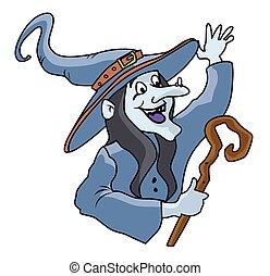 hexe, karikatur, maskottchen