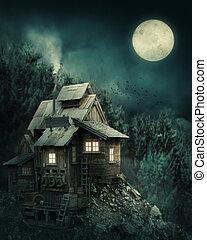 Hexenhaus im mysteriösen Wald.