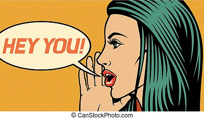 Hey du - vektorische Illustration der schönen Frau, die jemanden (Rufe laut) im Pop-Art-Stil nennt.