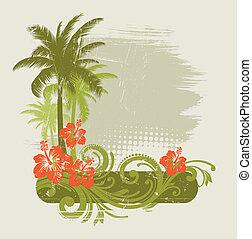 Hibiscus mit Ornamenten und Palmen - Vektorgrafik.