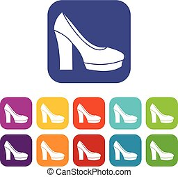 High Heel Schuhe Icons Set.