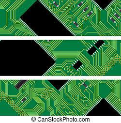 High-Tech-Hintergrund, Computerschaltkreis - Vektor Illustration
