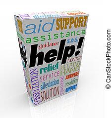 Hilf mir, Worte über Produktbox-Kundenunterstützung zu unterstützen