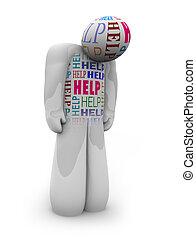 Hilfe - eine Person ist allein und deprimiert in der Pflege.