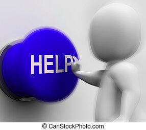 Hilfe gedrückt zeigt Unterstützung und Hilfe.