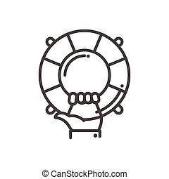 Hilfe und Support - Vektor moderne Linien Design illustrative Icon
