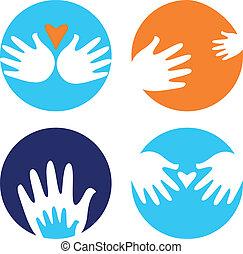 Hilfreich und mit Händen tragen Ikonen, isoliert auf Weiß