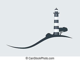 Hillside Black Striped Lighthouse Vektor Illustration.