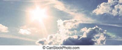 himmel blau, sonnig, während, tag, sunlight.