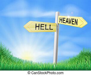 Himmel oder Hölle Entscheidungszeichen.