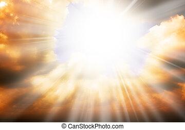 himmel, sonne, -, strahlen, religion, begriff, himmelsgewölbe