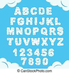 himmelsgewölbe, pummelig, vektor, alphabet., typeface., bewölkt , flaumig, briefe, wolke, numbers., himmel, font.