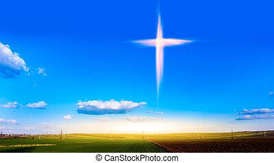 Himmlisches Kreuz. Religionssymbolform . Dramatische Natur