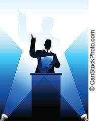 hinten, silhouette, business/political, podium, sprecher
