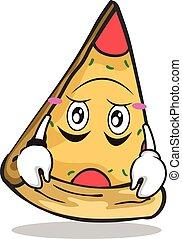 Hinter dem Pizza-Charakter-Cartoon.