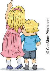 Hintere Sicht auf Junge und Mädchen Geschwister, die aufschauen