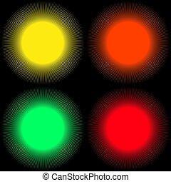 Hintergründe in Form von farbigen Bällen mit Strahlen isoliert auf einem schwarzen Hintergrund.