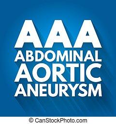 hintergrund, akronym, aneurysma, -, abdominal, aortal, begriff, aaa, medizin
