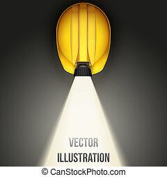 Hintergrund des klassischen Bergarbeiterhelm mit Lampe. Top Aussicht. Vector Illustration auf weißem Hintergrund
