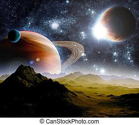 Hintergrund des Weltraums abbrechen. In der weiten Zukunft. Neue Technologien und Ressourcen.