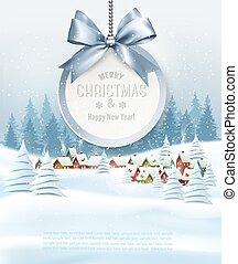 hintergrund, feiertag, weihnachten, landschaft., winter, vector., bekommen, karte