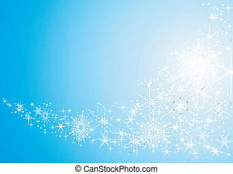 hintergrund, festlicher, abstrakt, schnee, sternen, glänzend, flakes.