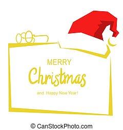 hintergrund, fröhlich, nikolausmuetze, text, weihnachtskarte, weiß rot