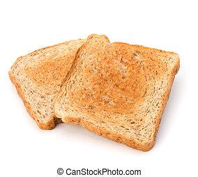 hintergrund, freigestellt, toast, krustig, scheibe, bread, weißes