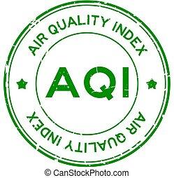 hintergrund, grün, runder , (abbreviation, aqi, wort, weißes, grunge, siegel, briefmarke, gummi, luft, index), qualität