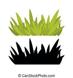 hintergrund., gras, abbildung, grün, freigestellt, weißes, vektor