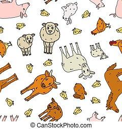 hintergrund, hahn, ram, kind, seamless, kälbchen, schafe, stier, grobdarstellung, horse., kanninchen, schwein, kuh, mutter, gekritzel, karikatur, weißes, muster, hase, klein, huhn, groß, ziege, farm., tiere, vektor