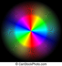Hintergrund in Form einer farbigen Kugel mit Strahlen isoliert auf einem schwarzen Hintergrund.