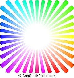 Hintergrund in Form einer farbigen Sonne mit Strahlen