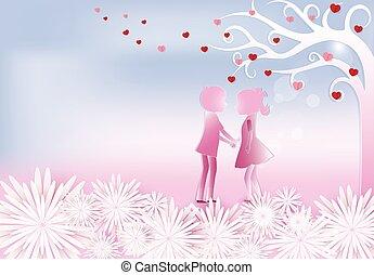 hintergrund, junge, kunst, papier, rosa, stil, valentine, m�dchen, herz, handwerk, abbildung