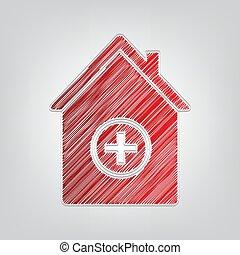hintergrund., künstlerisch, rotes , kritzeln, graue , klinikum, kontur, zeichen, illustration., licht, steigung, ikone, schnur